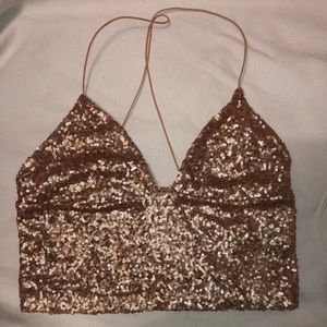 Urban Outfitters Sequin Cropped Top